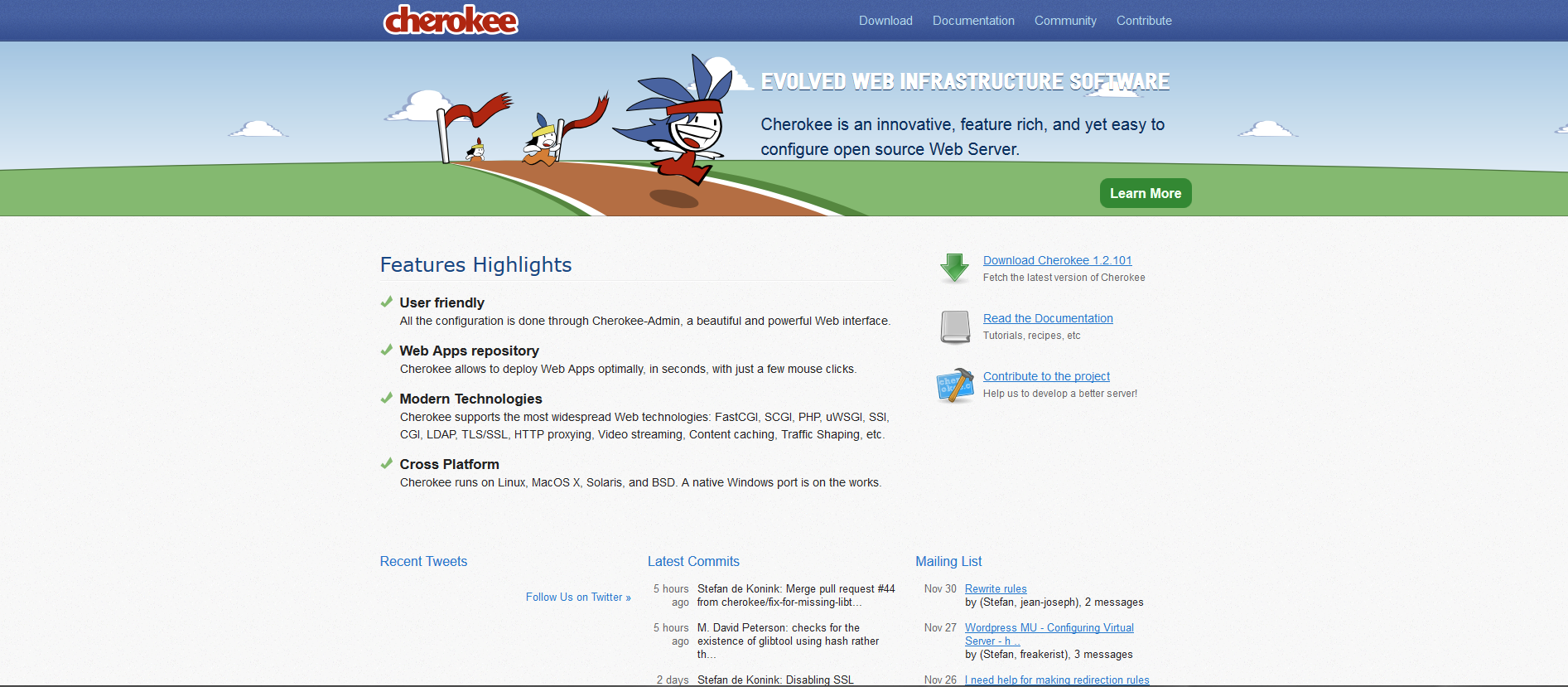 Cherokee web server homepage