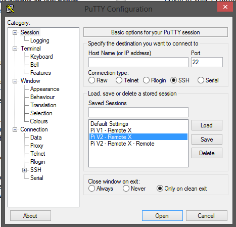 Putty connection settings